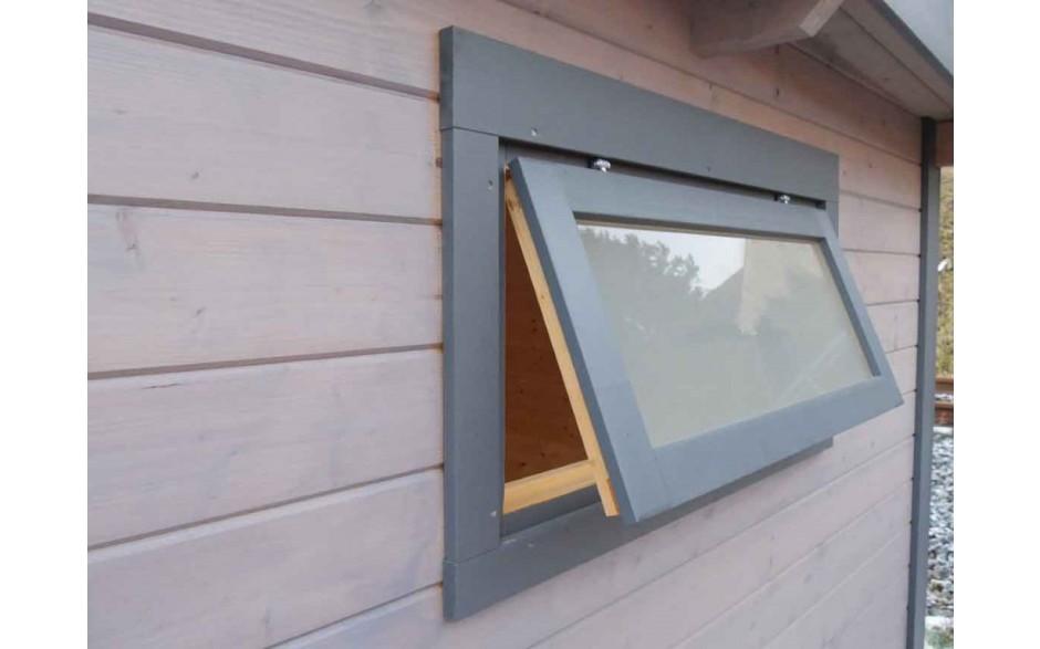 Geöffnetes Fenster beim Gartenhaus Pulti 28 ST-B