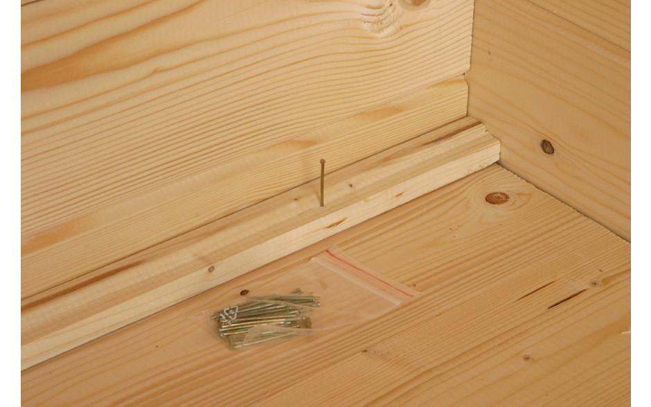 Beim Varianta B Basic Gartenhaus wird 18 mm Holz für den Fußbodenbereich verwendet