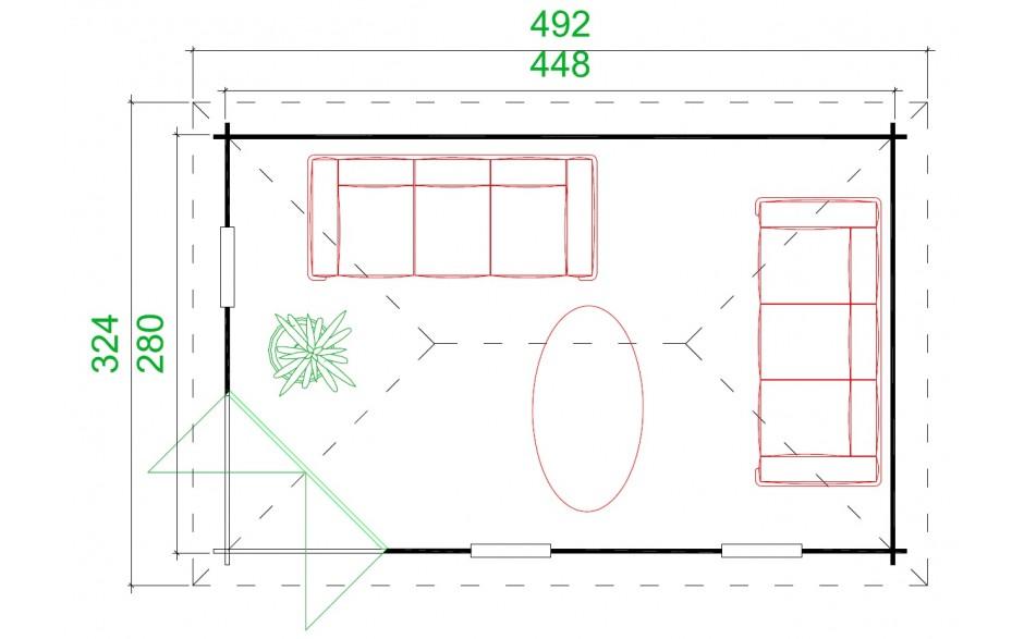 Grundriss des Gartenhauses Edinburgh 2-40