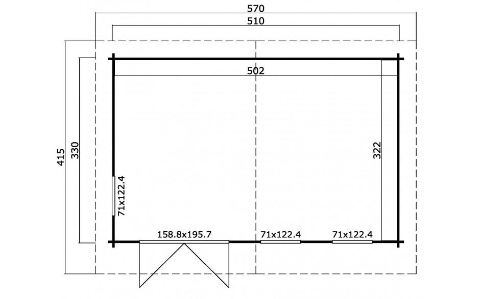 Grundriss des Gartenhauses Baruda 53