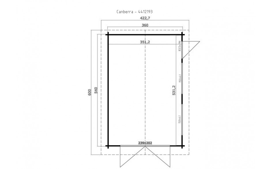 Grundriss der Garage Canberra inkl. Tor