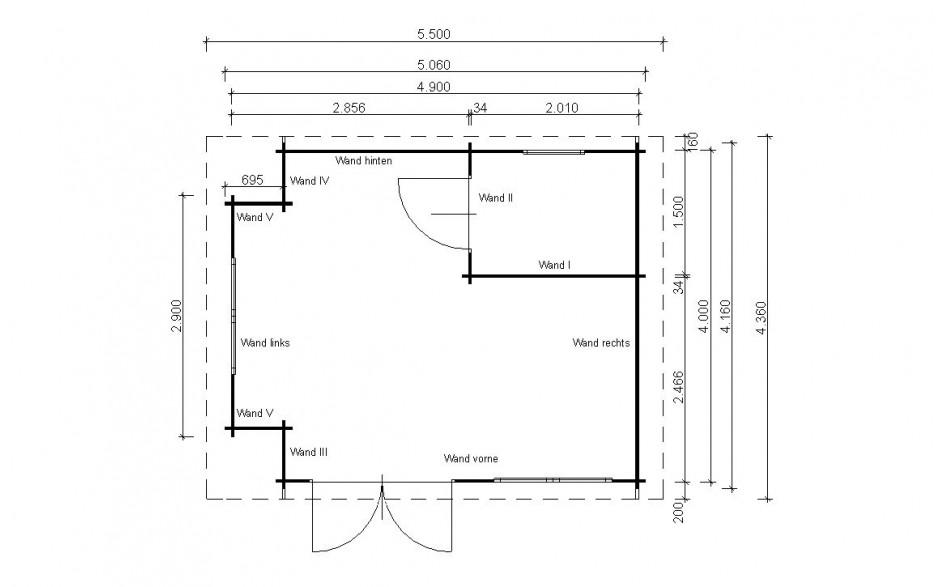 Grundriss des Freizeithauses Celle 70-A