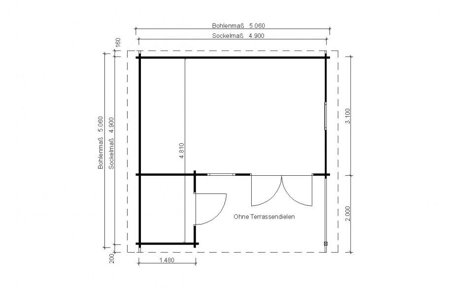 Grundriss des Gartenhauses Cuxhaven 44-B