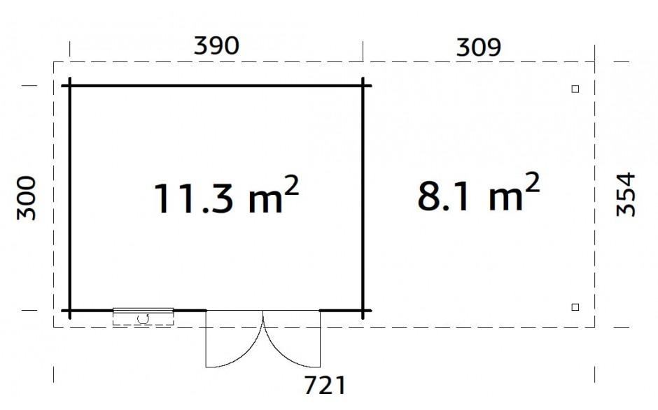 Grundriss des Gartenhauses Elsa 11.3 + 8.1