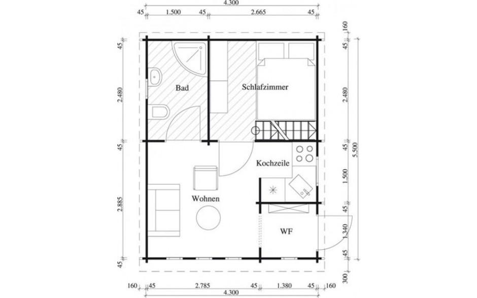 Grundriss des Freizeithauses Mallorca 44