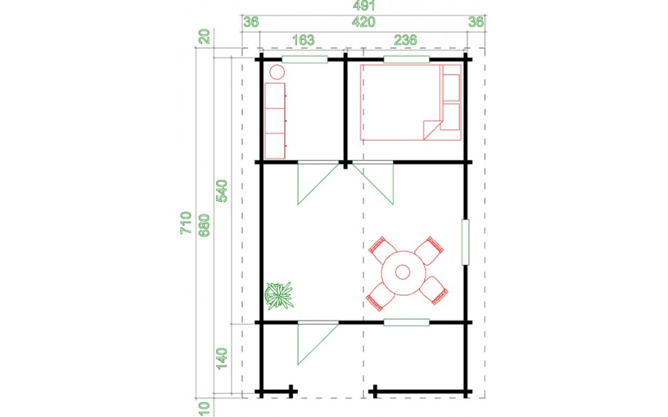 Grundriss des Gartenhauses Elba 70