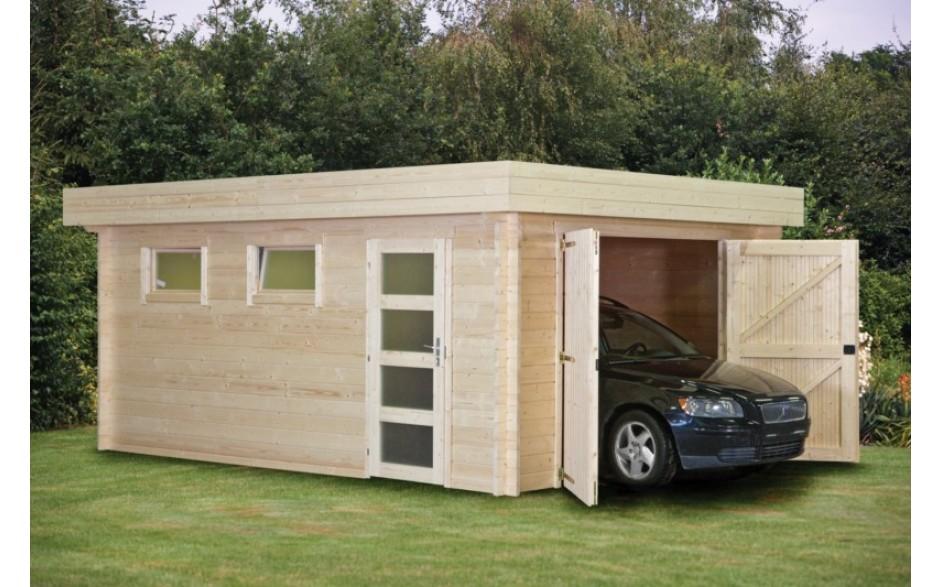 Garage Radolfzell mit Flachdach, Garagentor und einer Einzeltür