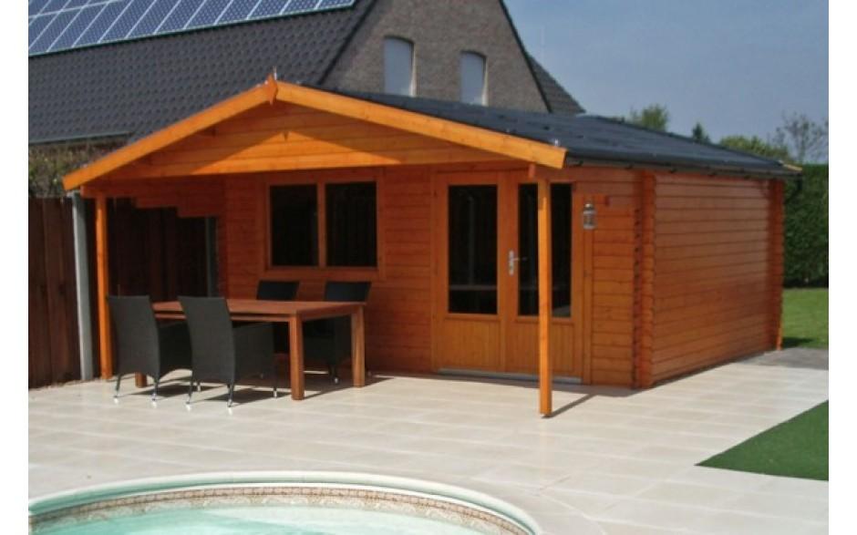 günstiges Gartenhaus Sylt aus rötlichem Holz