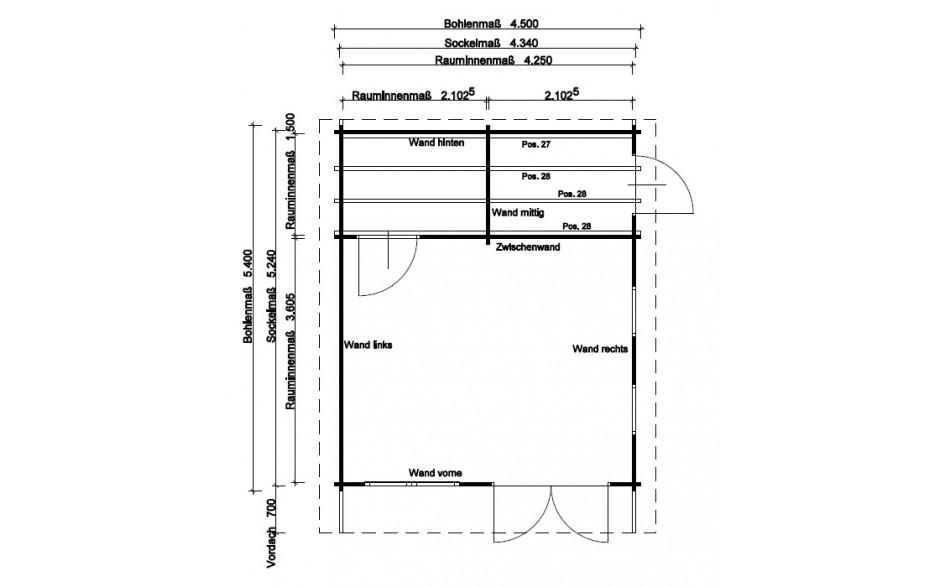 Grundriss des Freizeithauses Garbsen 44