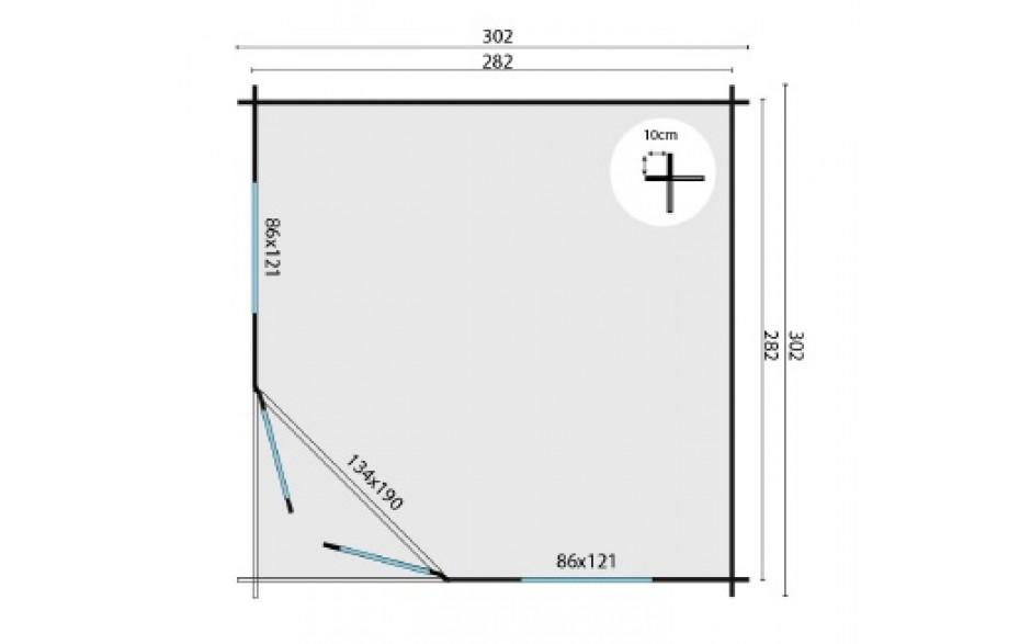 Grundriss des Gartenhauses Hockenheim