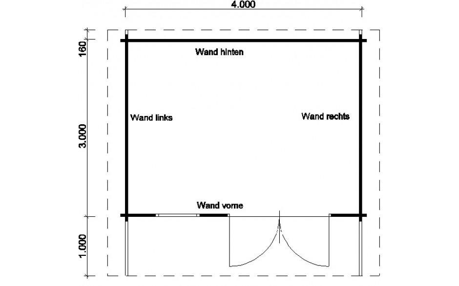 Grundriss des Gartenhauses Nienburg C mit Boden und Isoglas