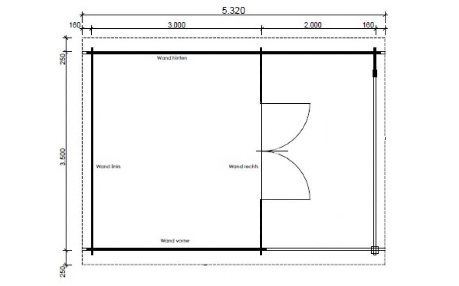 Grundriss des Gartenhauses Nürnberg F2