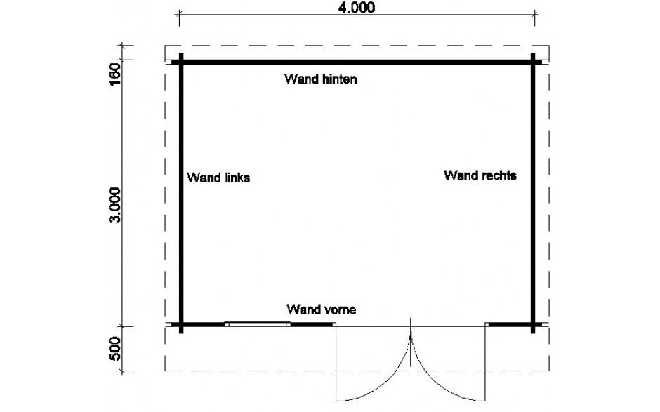 Grundriss des Gartenhauses Verden C mit Boden und Isoglas