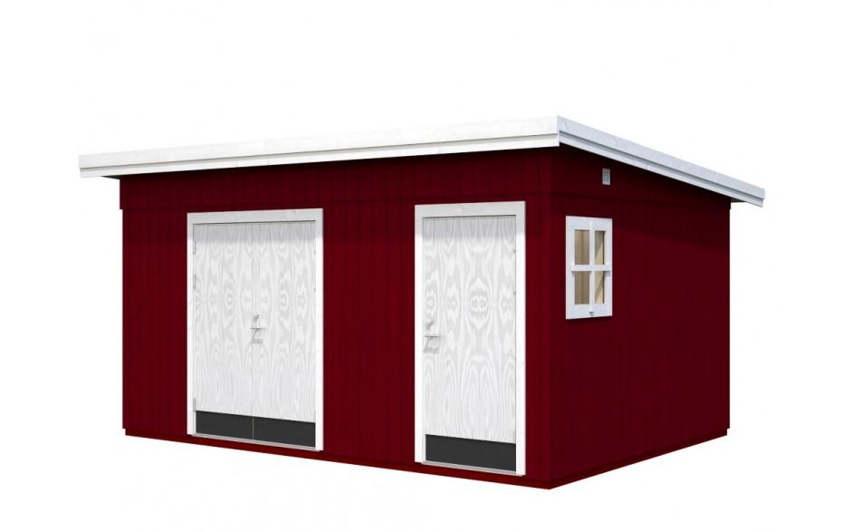 Das in Rot und Weiß lackierte Gartenhauses Kalle 13.5