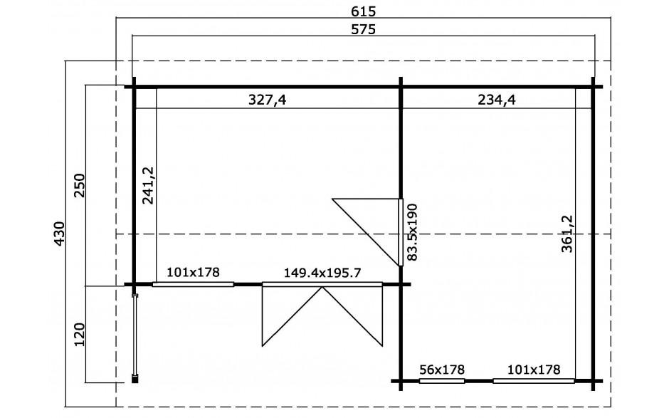 Grundriss des Gartenhauses Montrose 44