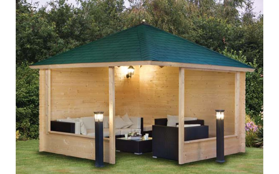 gartenpavillon holz satteldach. Black Bedroom Furniture Sets. Home Design Ideas