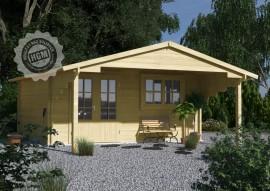 Holzgartenhaus Sylt mit Terrasse unter dem weiten Vordach