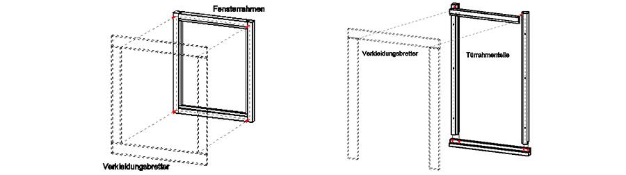 Fensterrahmen und Verkleidungsbretter